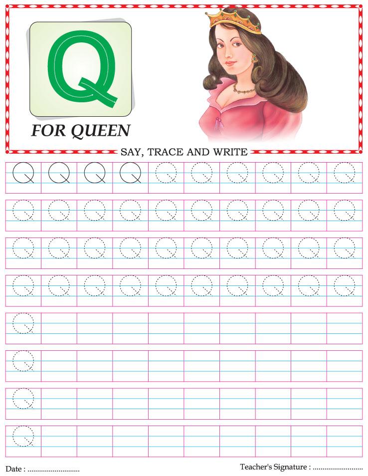 Capital letter writing practice worksheet alphabet Q