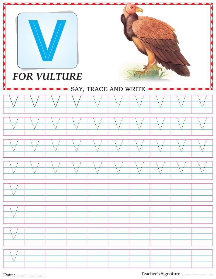 Capital letter writing practice worksheet alphabet V
