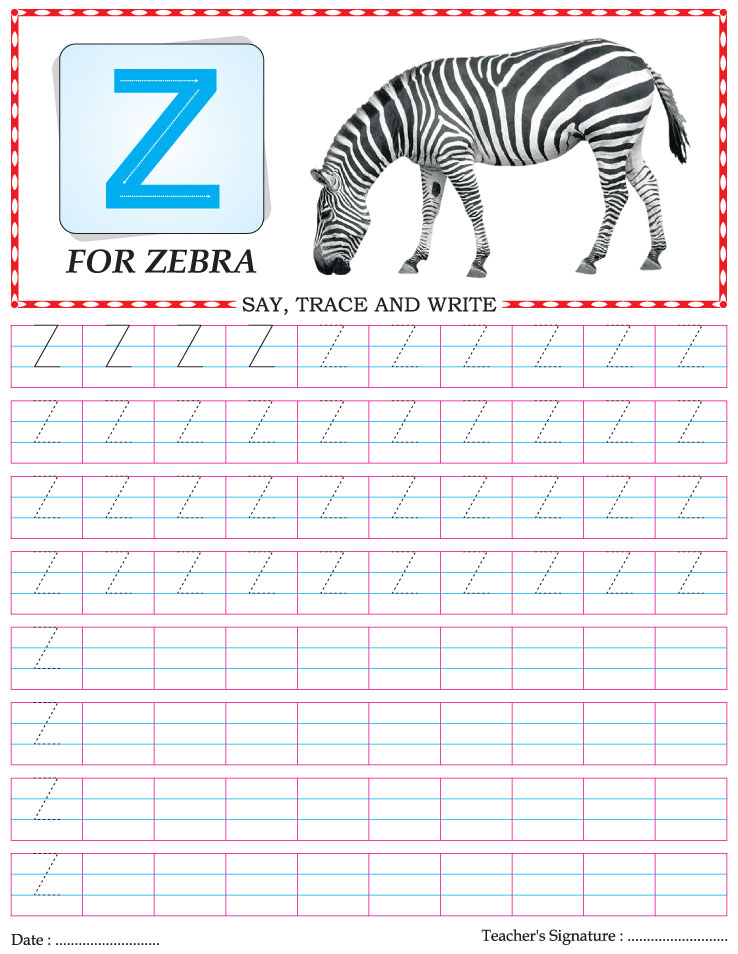 Capital letter writing practice worksheet alphabet Z ...
