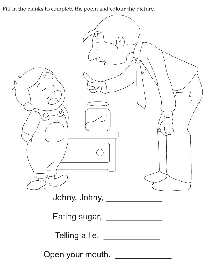 math worksheet : fill in the blanks to plete the poem and color the picture  : Fill In The Blank Worksheets For Kindergarten