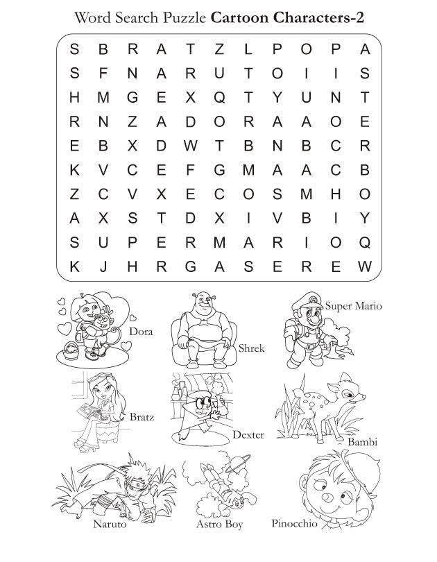 Word Search Puzzle Cartoon Characters 2 : Download Free ...