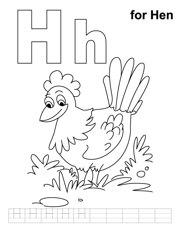 H for hen coloring page with handwriting practice ...